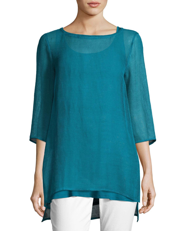Eileen Fisher Missy Organic Linen   Tunic Jewel Bateau Neck Blau Medium