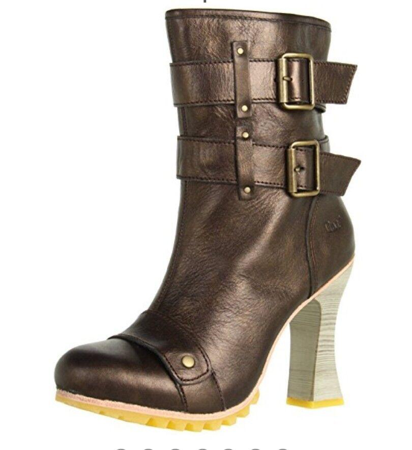 NEW Sz 8 Leather Cat Women's Bronze High Heel Zipper Mid Ankle Boots Metallic