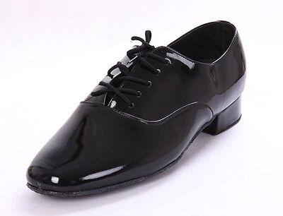 New Men Black Shiny Faux Leather Latin Waltz Ballroom Dance Shoes 2.5CM Heel