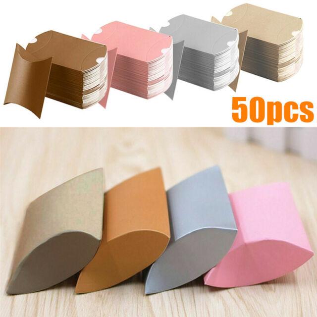 10//50pcs Favors Christmas Kraft Gift Bag Paper Candy Boxes Pillow Shape