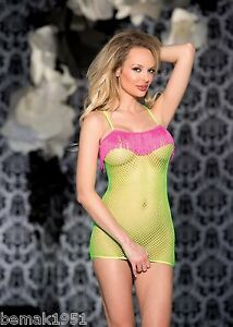 Neon-Lime-Fishnet-Chemise-Hot-Pink-Fringe-One-Size-Shirley-of-Hollywood-90298