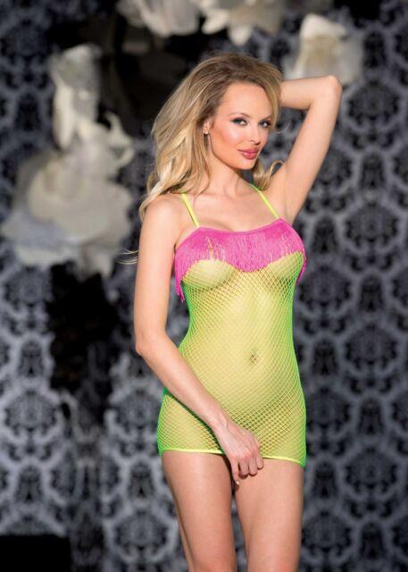 Neon Lime Fishnet Chemise Hot Pink Fringe One Size Shirley of Hollywood 90298