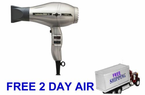 Power Twinturbo 3900 Light Ceramic Ionic Hair Dryer 2 Nozzles Silver