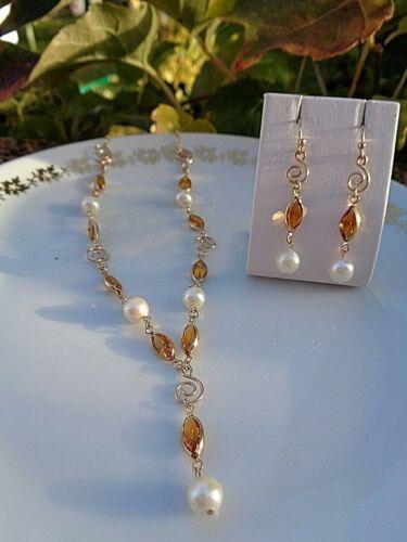 Citrin und Spirale handgemacht! Ohrringe in 585 Gold Filled mit Akoya Perlen