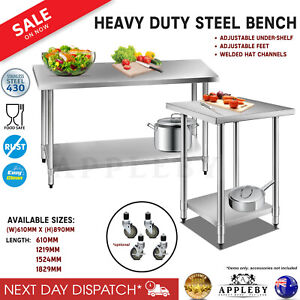 430 Stainless Steel Bench Table Commercial Home Kitchen Work Food Grade Shelf