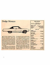 1968 DODGE MONACO 440/375 HP ~ ORIGINAL SMALLER ROAD TEST / ARTICLE / AD