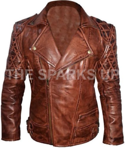 Diamond Quilted Classic Biker Distressed Brown Real Leather Jacket BIG SALE