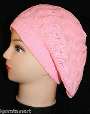Pink Women Lady  Beret Baggy Beanie Knitted Hat Cap Knit Hats Jewelry