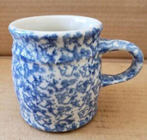 Details About Henn Pottery Blue Spongeware Mug H46