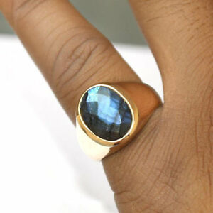 Blue-Fire-Faceted-Labradorite-Gemstone-14K-Rose-Gold-Silver-Men-039-s-Ring-Size-9