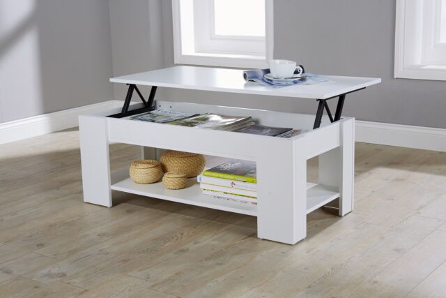 Modern Lift Up Top Coffee Table Storage Area Shelf Occasional White Seconds