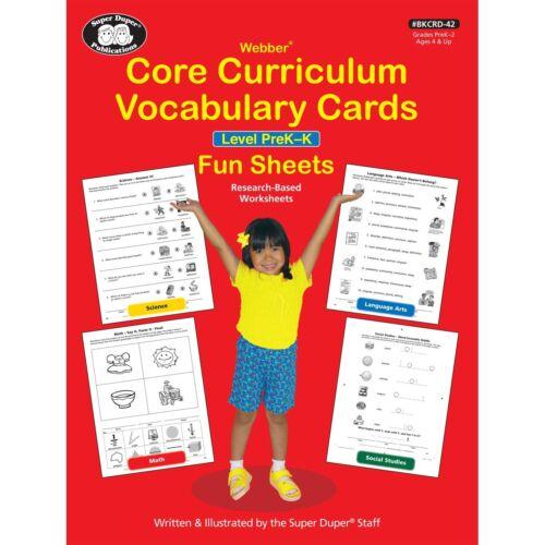 Core Curriculum Vocabulary Cards Fun Sheets Level PreK to 2 Super Duper Math Art