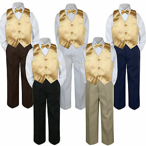 4pc Boys Suit Set White Shirt Vest Bow Tie Baby Toddler Kids Formal Pants sz S-7