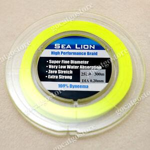 NEW-Sea-Lion-100-Dyneema-Spectra-Braid-Fishing-Line-300M-25lb-yellow