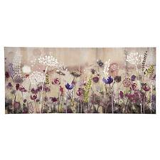 Grande Floreale con Rose Summer Meadow Tela Rosa Viola Bianco Verde WALL ART PICTURE