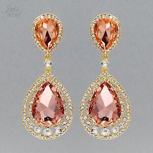 ff70b91717ff Image is loading 18K-Gold-Plated-GP-Peach-Crystal-Rhinestone-Wedding-