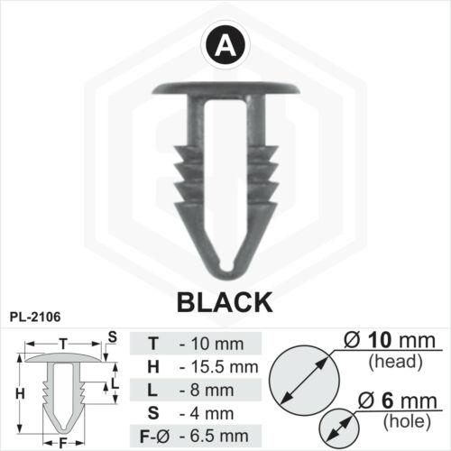 10mm Head Car Universal Plugs 10 x Black Plastic Fir Tree Trim Clips 6mm Hole