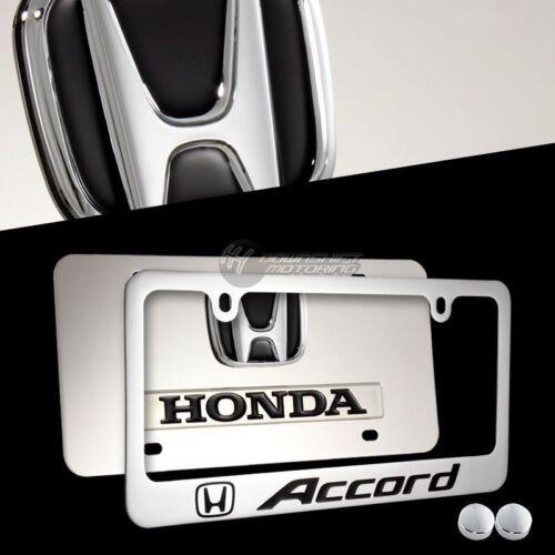 Black HONDA ACCORD 3D Stainless Steel License Plate Frame 2pcs Front /& Back