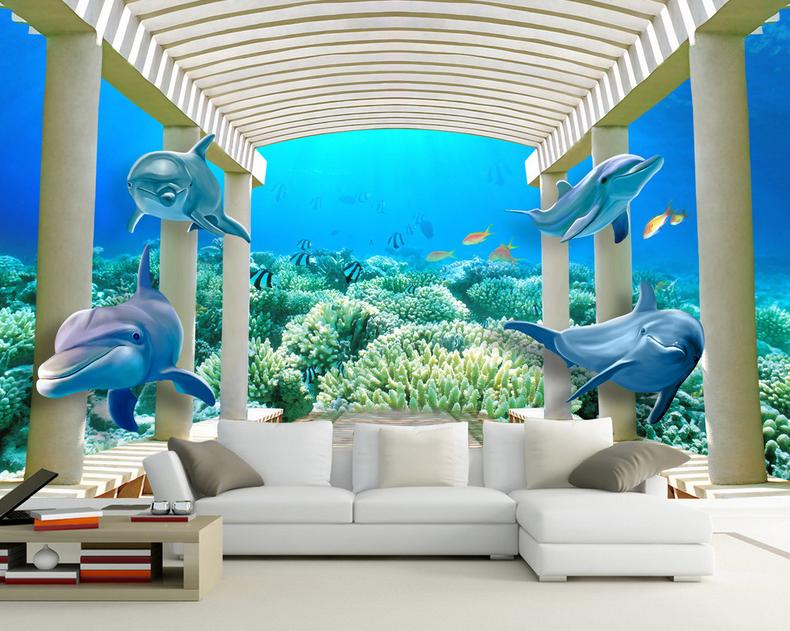 3D Dolphin Dolphin Dolphin Steinsäulen 896 Tapete Wandgemälde Tapete Tapeten Bild Familie DE | Deutschland Berlin  | New Product 2019  |  6ca211