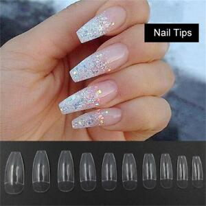Details about Fake Long DIY Coffin Shape Nail Art Tips False Cover False  Ballerina Nails