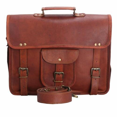 """15/"""" Vintage Expert Leather Messenger Bag Satchel Leather Men/'s Briefcase Laptop"""
