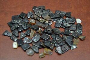 100 PCS BLACK MOTHER OF PEARL SHELL CHARM CHIPS BEADS #T-425