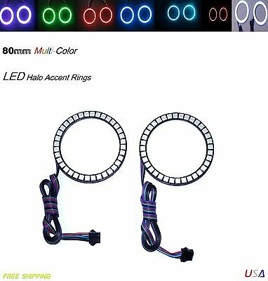 Add On Angel Eye Halo Accent Light Rings 80mm Multi-Color LED Sport Bike