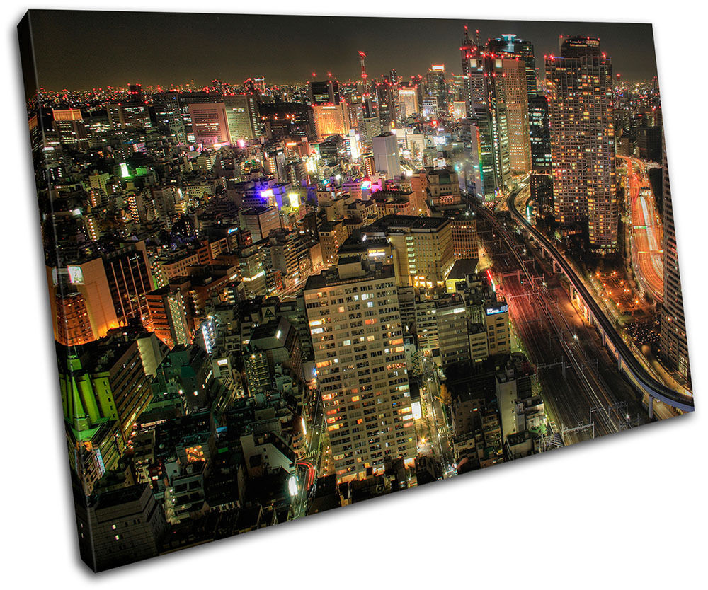 Tokyo skyline Japan Night Cityscape Canvas Art Picture Print Decorative Photo