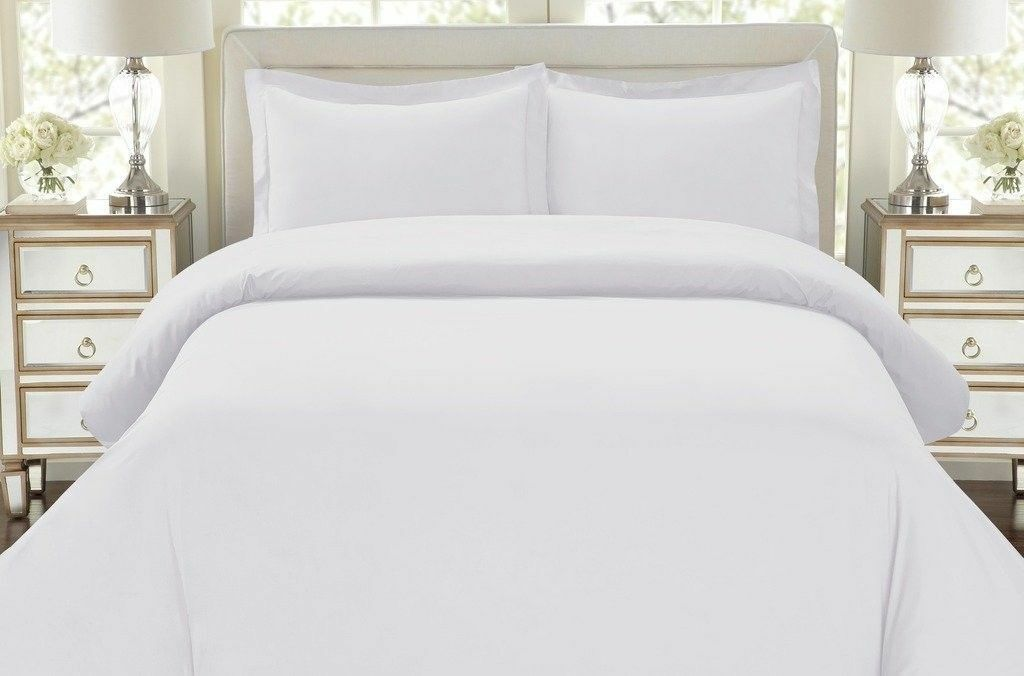 King Size Duvet Cover, BD2008 All White with striped pattern