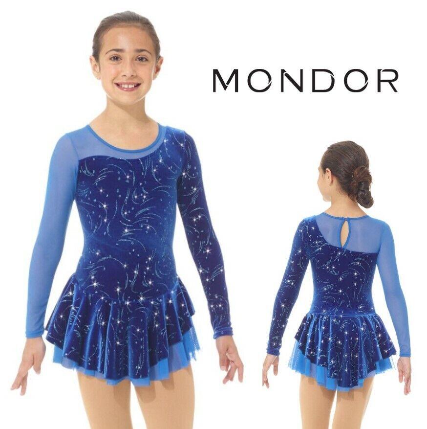MONDOR Blau Glitter Velvet Blizzard Figure Skating Competition Dress ADULT SMALL
