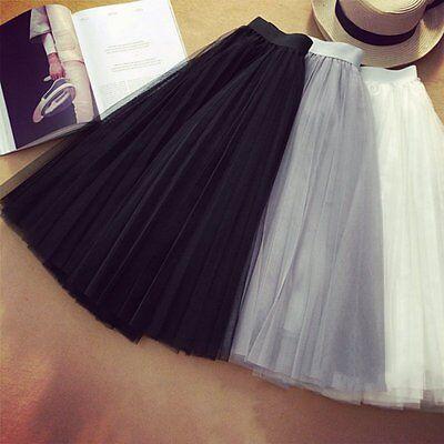 Women Princess Ballet Tulle Pleated Skirt Wedding Prom Fairy Bouffant Dress