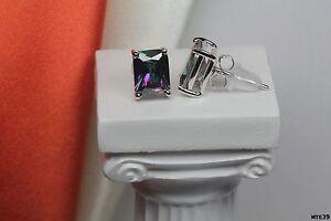 Emerald-Cut-Nickel-Free-925-Silver-Mystic-Fire-Topaz-Stud-Earrings-1-74Ct-Each