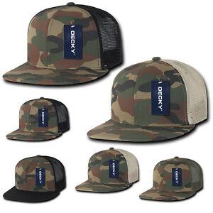 Camouflage TRUCKER HAT Plain Blank FLAT BILL Cap hunting Woodland ... 71433f6305a