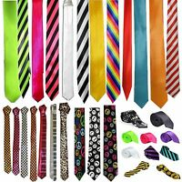 Mens Slim Skinny Solid Color Plain Stripe Satin RainbowTie Necktie Check Novelty
