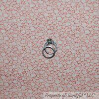BonEful Fabric FQ Cotton Quilt Pink Cream Antique Little Flower Leaf Calico Tiny