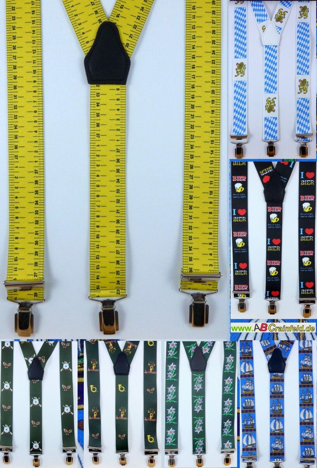 flotter Hosenträger mit drei Klips, viele Farben, 35 mm breit,,120 cm lang