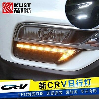 2x LED Chrome Daytime Running Fog Lights Lamp DRL Grill For Honda CR-V 2016