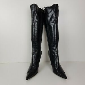 B4-Womens-Thigh-High-Knee-High-Back-Lace-Up-Stiletto-Heel-Boots-Black-Shoes