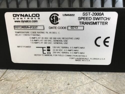 Dynalco Controls Speed Switch Transmitter SST2400A-P337 0-500Hz