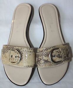 Womens Connie Faux Snake Skin Buckle Slip On Sandals Shoes Size 6.5 Italy