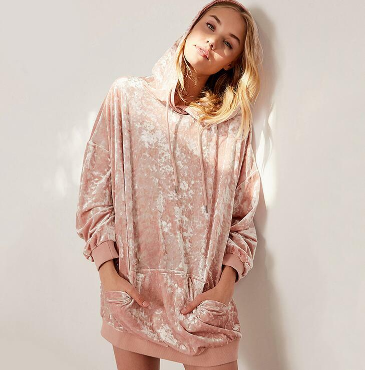 Womens Loose Hoodie Long Sleeve Above Knee Casual Dress Tops Coats Fashion new