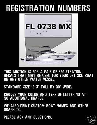 Boat Registration Numbers ANY COLOR Jet Ski Name
