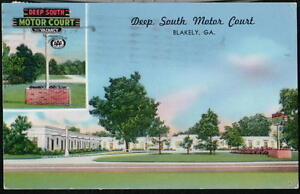 BLAKELY-GA-Deep-South-Motor-Court-Motel-Vintage-1957-Postcard-Old-Georgia-PC