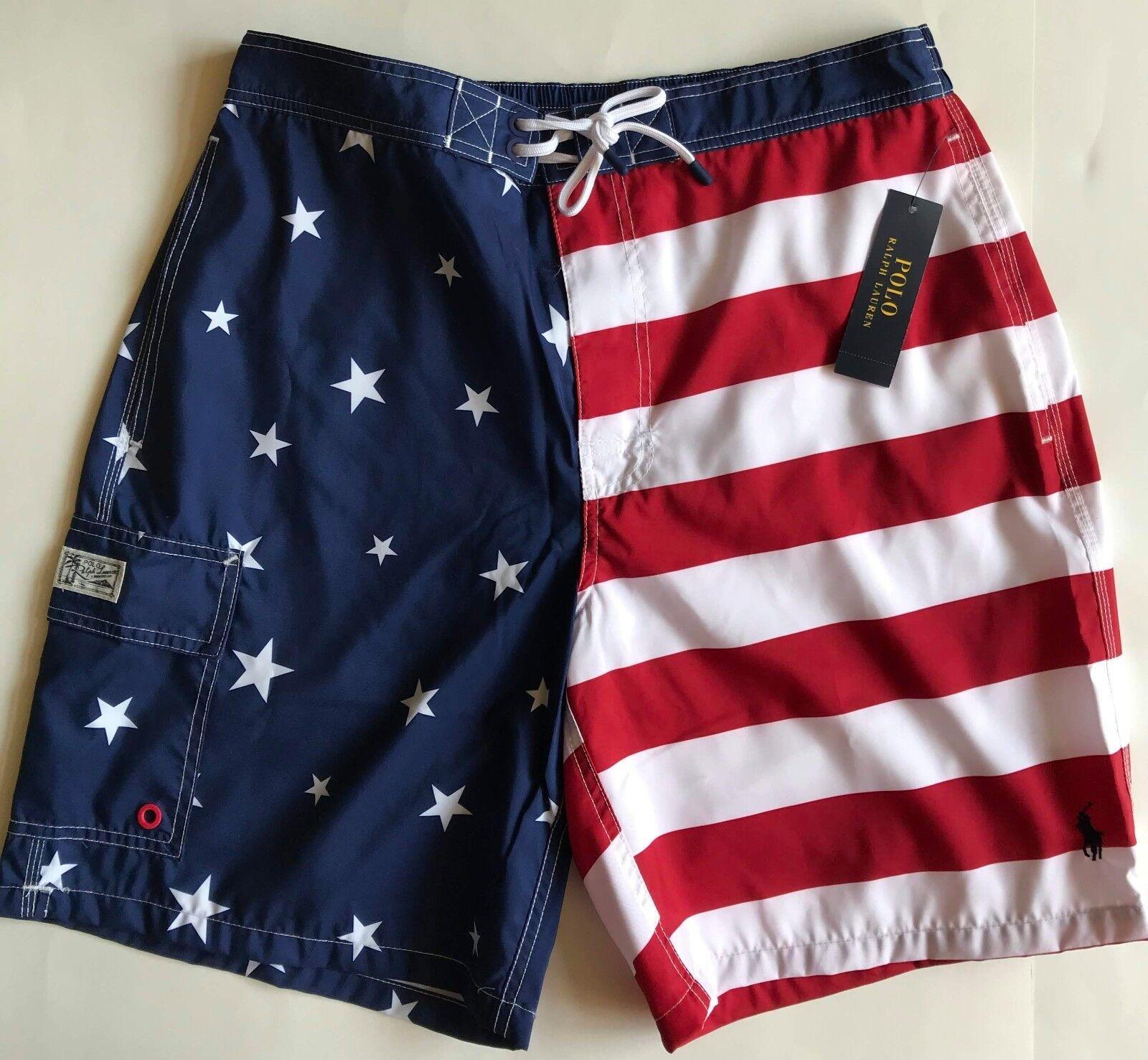 NWT Mens Polo Ralph Lauren Kailua American Flag 8 1 2  Swim Trunks Shorts L