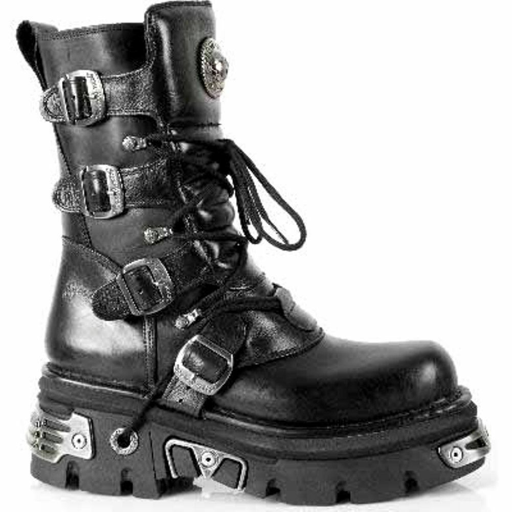 Newrock New Rock 373 373 373 S4 metallica Stivali Neri in Pelle Goth Biker Emo Fashion 9443f6