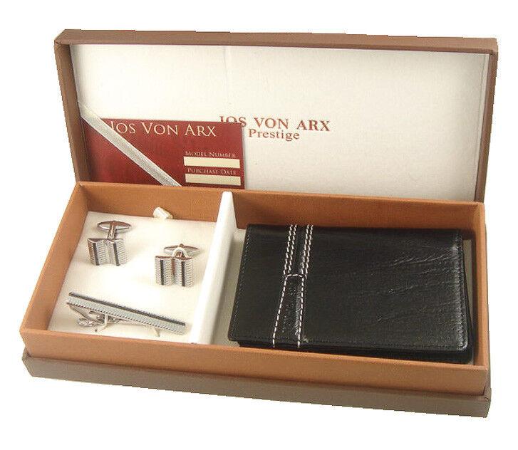 Jos Von Arx Black Leather Card Wallet, Cuff Links & Tie Clip Mens Gift Set SE32