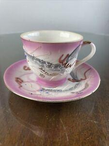 Vintage Pink Dragonware Lithopane Porcelain Demitasse Cup & Saucer