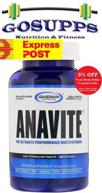 Gaspari Nutrition Anavite 180 Tablets Sports Multivitamin SuperPump SizeOn