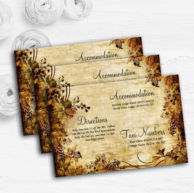 Autumn Colours Vintage Personalised Wedding Guest Information Cards
