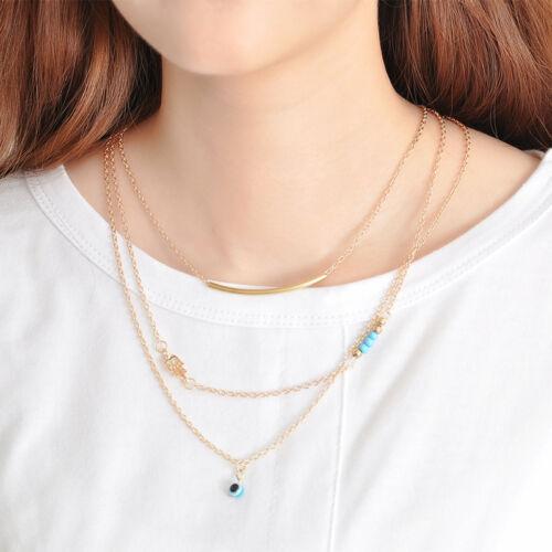 Fashion 3 Layers Chain Hamsa Fatima Hand Evil Eye Turquoise Choker Necklace Gift